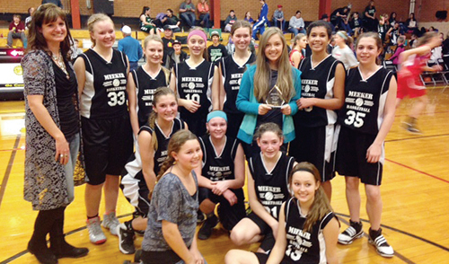 The Barone Middle School eighth grade girls' basketball B team finished off their season on Feb. 14 by winning their B team district championships. They first defeated Craig by a lopsided 40-8 score over Craig and then dominated Rangely 35-13. Team members are: standing, from left to right: Coach Jamie Rogers, Ellie Anderson, Abbi Rosendahl, Mikayla Cardile, Allison Moon, Allie Willey, Tori Lasker and Savana May. Kneeling, from left to right are: Briar Meszaros, manager Abbi Moon, Michaela Jones, Kylee Bradford and Lila Klinglesmith.