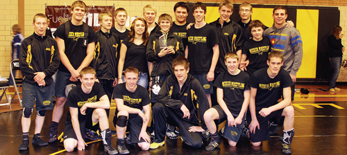 The Meeker High School wrestling team, currently ranked No. 3 in 2A by On the Mat Rankings, hosted and won the team title of the annual Meeker dual meet tournament, the final action of the regular season. The Cowboys will wrestle in the state-qualifying Region 1 tournament at Colorado Mesa University, starting Friday at 1 p.m. Wrestling for the Cowboys this season are, in front, Hunter Garcia, Tristin Pelloni, Caleb Bradford, Garrett Frantz and Chase Rule. Back row: Kylloe Goedert, Devon Pontine, Christopher Strate, Cody Nielsen, manager Alicia Watt, Casey Turner, Sheridan Harvey, Tyler Ilgen, Nick Burri, Jacob Henderson, Anthony Watt, Jacob Pelloni and T.J. Shelton.