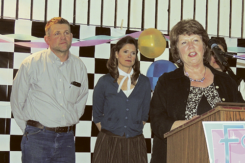 Ellene Meece, president of the Rio Blanco County Historical Society, accepted the Non-Profit Organization of the Year award on Saturday night at the annual Meeker Chamber of Commerce annual dinner and awards program at the Fairfield Center. Behind Meece are chamber board member and presenter Dan Schwartz, left, and Meeker Chamber of Commerce Executive Director Stephanie Kobald.