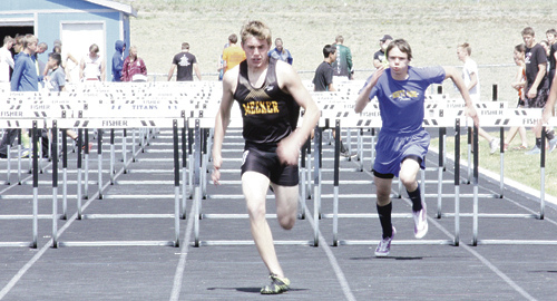 """According to Meeker High School track coach John Strate, Jacob Henderson continues to improve his time in the 110-meter hurdles and impressed him after clearing 5-6 in the high jump. """"Jake's high jump was impressive considering it was his first time competing in the event,"""" Strate said. The Cowboys will compete in Rangely on Saturday."""