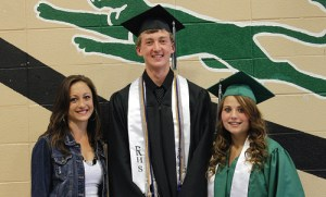 The Rangely Elks Club presented six $200 scholarships to members of the Class of 2015 at the Rangely High School Commencement on May 24. From the left are: Elks representative Rachel LeBleu and seniors Mitchell Webber and Dawn Stephens. Other seniors to receive scholarships from the Elks included Jessica Tolley, Simone Heinle, Jason VandenBrink and Stephanie Tuck.
