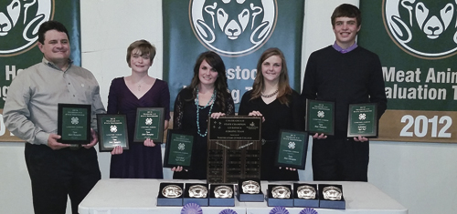 The Rio Blanco County 4-H Livestock Judging Team finished No. 1 in Colorado following the state judging competition. From left to right are: advisor Clint Shults, and team members Macy Collins, Madi Shults, Samantha Lapp and Ty Dunham. Next step is nationals at Louisville, Ky.