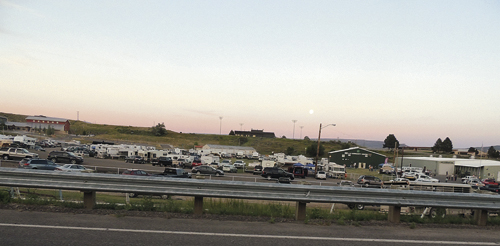 Just as the sun begins to set above the parking areas at the Rio Blanco County Fair on Friday, it is obvious that the parking lots are full but also that the infield of the parking area was plumb full of campers, mostly from Rangely, who took advantage of the camper parking during the closing days of the Rio Blanco County Fair at the Meeker fairgrounds.