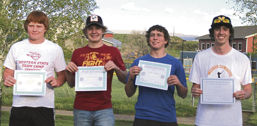 Four Meeker High School baseball players were honored by the Northwest League for their play this season. From left, sophomore Logan Hughes, junior Ty Gibson and sophomore Doak Mantle were named to the first-team all-conference team, and Cowboy senior Nick Burri was honorably mentioned.