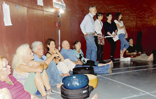 After a few short rain storms and a great pulled pork dinner from Giovanni's in Rangely, a large crowd of those present gathered inside The TANK to listen to singing, moaning, chanting, different instruments, a variety of voices and sounds to demonstrate the wide range of sounds that could be made within. The sounds can be described as a pure, eerie, well blended, unique variety of sounds both high and low and with tones rarely heard by one's ears.
