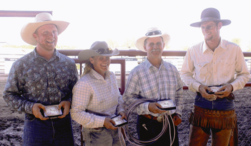 Aaron Webster, Hallie Blunt, her brother Coley Turner, and J.C. Chintala won the prestigious Ranch Rodeo belt buckles in Colorado's longest-running annual rodeo, the 131st celebration of Range Call. This year's champions, who finished second the past three years, were the only team to win two events this year and secure the buckles.