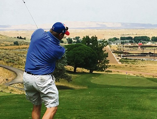 """Meeker's Willy Theos recorded his first-ever hole-in-one on hole No. 7 on Rangely's Cedar Ridges Golf Course during the annual 27-hole, two-man tournament held on Saturday. Theos said he """"chunked an eight iron that landed in front of the green, bounced on, rolled the length of the green and went in!"""" Theos said he had eye surgery and that he was playing against Robby Elam, who gave him the """"play by play,"""" of the ace. The Couples Classic will be held this weekend, starting Saturday."""
