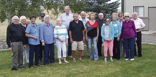 MHS Class of 1961: Bob Amick, Kay (Barney) and Bob Bivens, Mary Ann (Conrado) and Jerry Seely, John (Lynn) Green, Theralyne (Wilson) Dull, Carol (Richardson) and Johnnie Brown, Lewis Anderson, Fred (Patty) Oglesby, Lonnie (Peggy) Shults, Gail (Reagle) Muri, Gary Wrhel, Sharon (Whalin) Jewell, Connie (Prather) and Forrest Nelson, Marka (Dole) and Walt Weiss, Arloa (Gentry) and Erv Gerber and Garrett Wrhel.