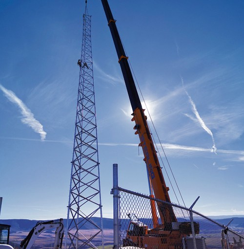 The new tower on top of Lobo Mountain in Meeker is one of eight towers being placed throughout the county that will provide wireless broadband access for rural residents.