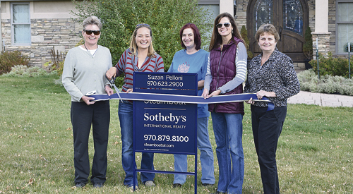 courtesy photo The Meeker Chamber of Commerce warmly welcomed new member Suzan Pelloni of Sotheby's International Realty in front of her new listing at 970 Shaman Trail in Meeker. Meet Suzan at Blanco Cellars on Nov. 4 for TGIF. Check next week's newspaper for an exciting giveaway.