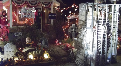 Bill and Donna Wille's extravagant Halloween display at their Market Street home in Meeker is always a sight to behold, prompting many a passer-by to stop and take pictures. This year the Wille's turned their display into a political statement, mirroring what many have thought of this year's election.  Niki Turner photo