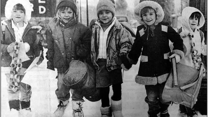 "This photo was too cute to pass up. From the Meeker Herald, Dec. 5, 1991: ""Snow and cold weather visited the White River Valley again this week but it certainly didn't seem to bother these five young ladies who appear to be enjoying their walk home from school. From left to right are Bobbie Jean Schmitz, Amanda Richardson, Nicole LeBlanc, Danyel Harman and Elly Krueger. While the skies did finally clear during mid-week, the mercury bottomed out this week at -3 degrees, while the town picked up 7 more inches of snow."" From Our Archives"