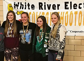 Three Rio Blanco County girl basketball players were named to the 2016 White River Electric Cowboy Shootout all-tournament team, along with Soroco's Dakota Bruner, Meeker's Reese Pertile and Megan Shelton, Rangely's Katelyn Brown and Hannah Gilmore of Cedaredge, who was also named the tournament's MVP. Moffat County's Alex Hamilton was selected but is not in the photo. Dale Dunbar photo