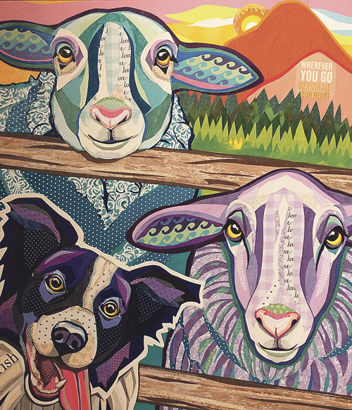 Yager, Laura – Wish Ewe Were Here – Cut Paper Collage – $600