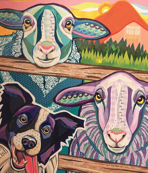"""The winner of the art competition is """"Wish Ewe Were Here,"""" a cut paper collage by Laura Yager of Boise, Idaho. Courtesy Photo"""