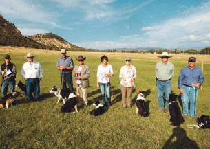 The finalists gather with their dogs on Sunday afternoon. Dale Hallebach