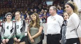 Panther seniors Katelyn Brown and Sarah Connor, along with their coach Marybel Cox, have an official's meeting before their match against Dolores, which they won. Bobby Gutierrez Photo