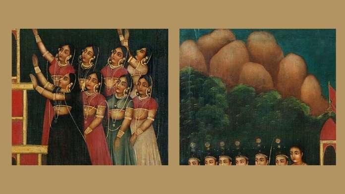 close up of painting. transparent veil, Persian rock