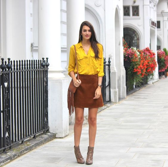 How to Wear Short Boots Brown Suede Skirt with Ankle Booties