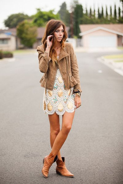 How to Wear Short Boots Jacket with a Dress and Ankle Booties