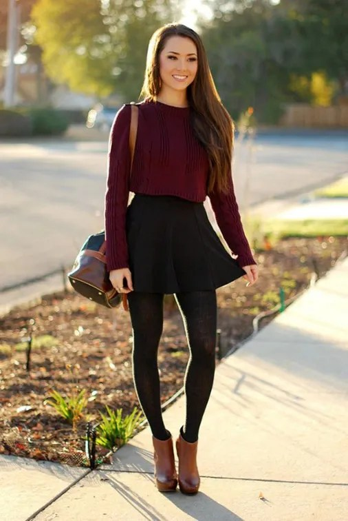How to Wear Short Boots Skirt, Leggings and Short Boots