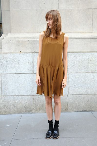 Lovely Drop Waist Dress featuring Shiny and Dark Loafers with Tassel and Dress socks
