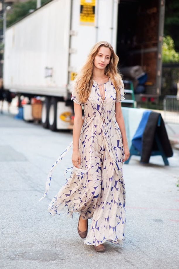 Rounded Toe Ballet Flats with Long Flowing Floral Maxi Dress for a Casual Day Out Look