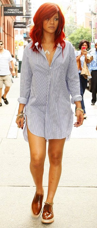 How to Wear Brown Oxford Shoes Rihanna