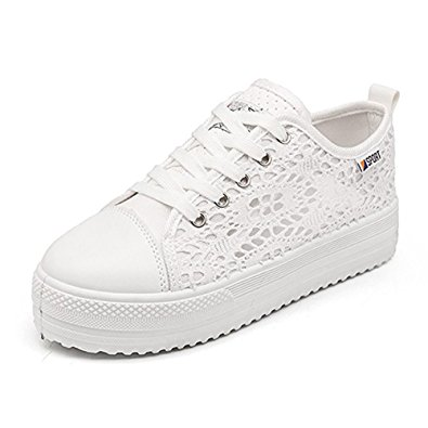 best white sneakers Huanyoo Women Cutouts Lace Canvas Shoes