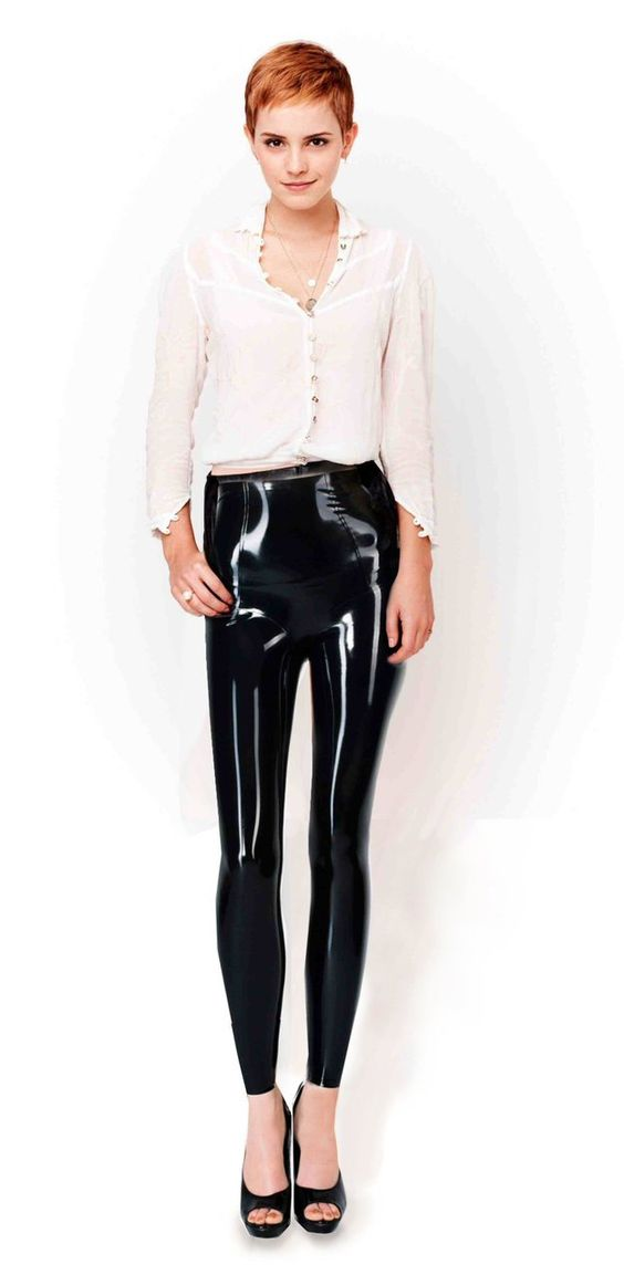 Emma Watson black leather leggings