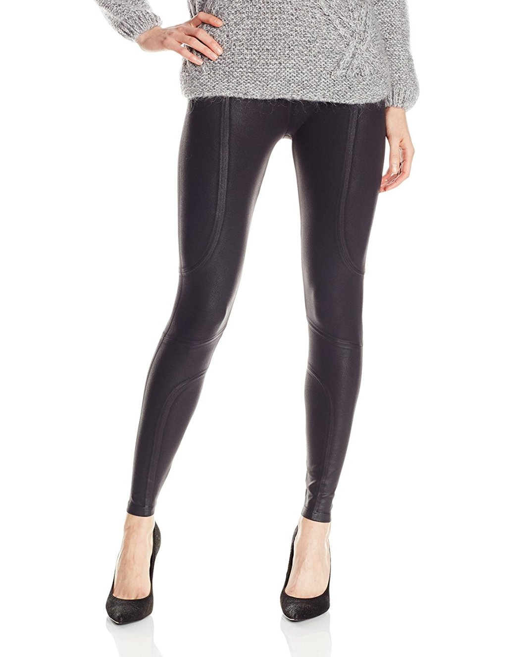 Yummie by Heather Thomson Women's Modern Mid-Rise Slimming Coated Moto Leggings