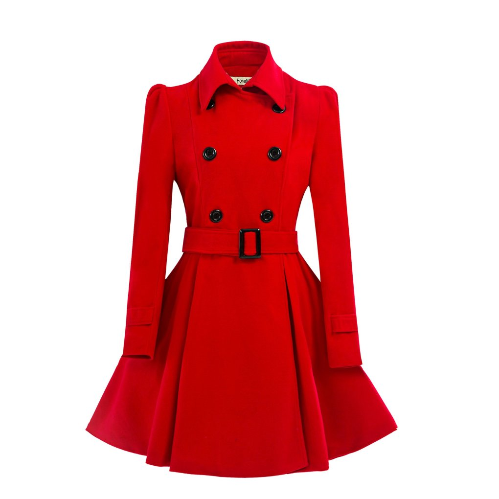 ForeMode Women Double Breasted Trench Coat with Belt Buckle