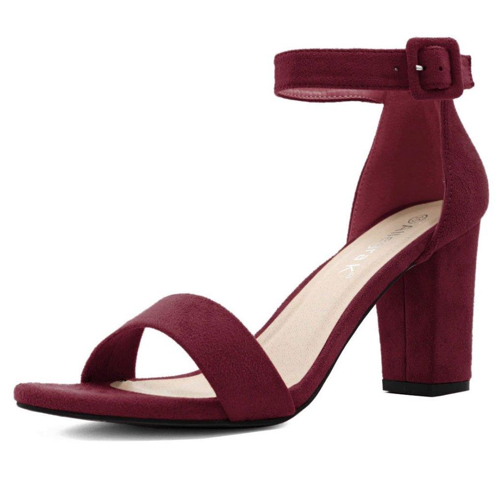 Allegra K Women's Chunky Heel Ankle Strap Sandals