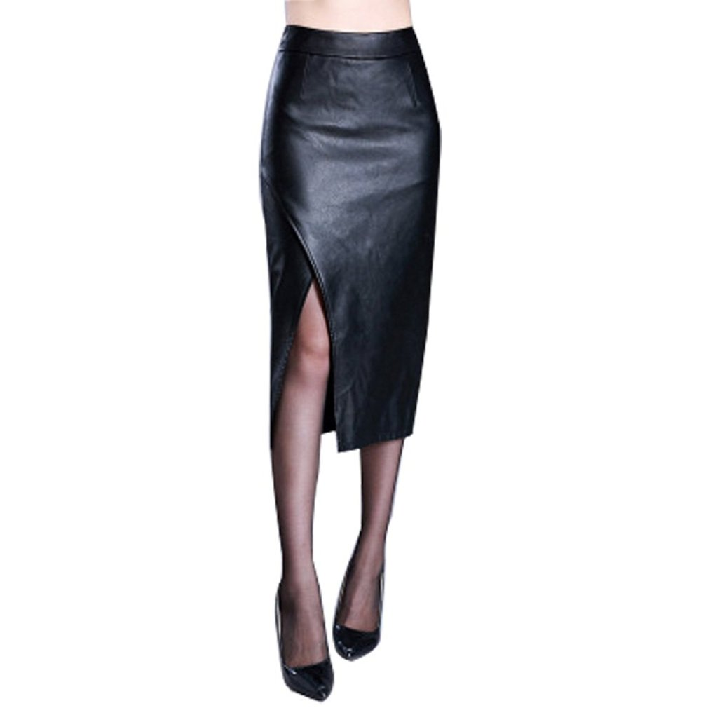 CoutureBridal Black Faux Leather Pencil Long Skirt Slit Side Zip Calf Length Skirt For Women