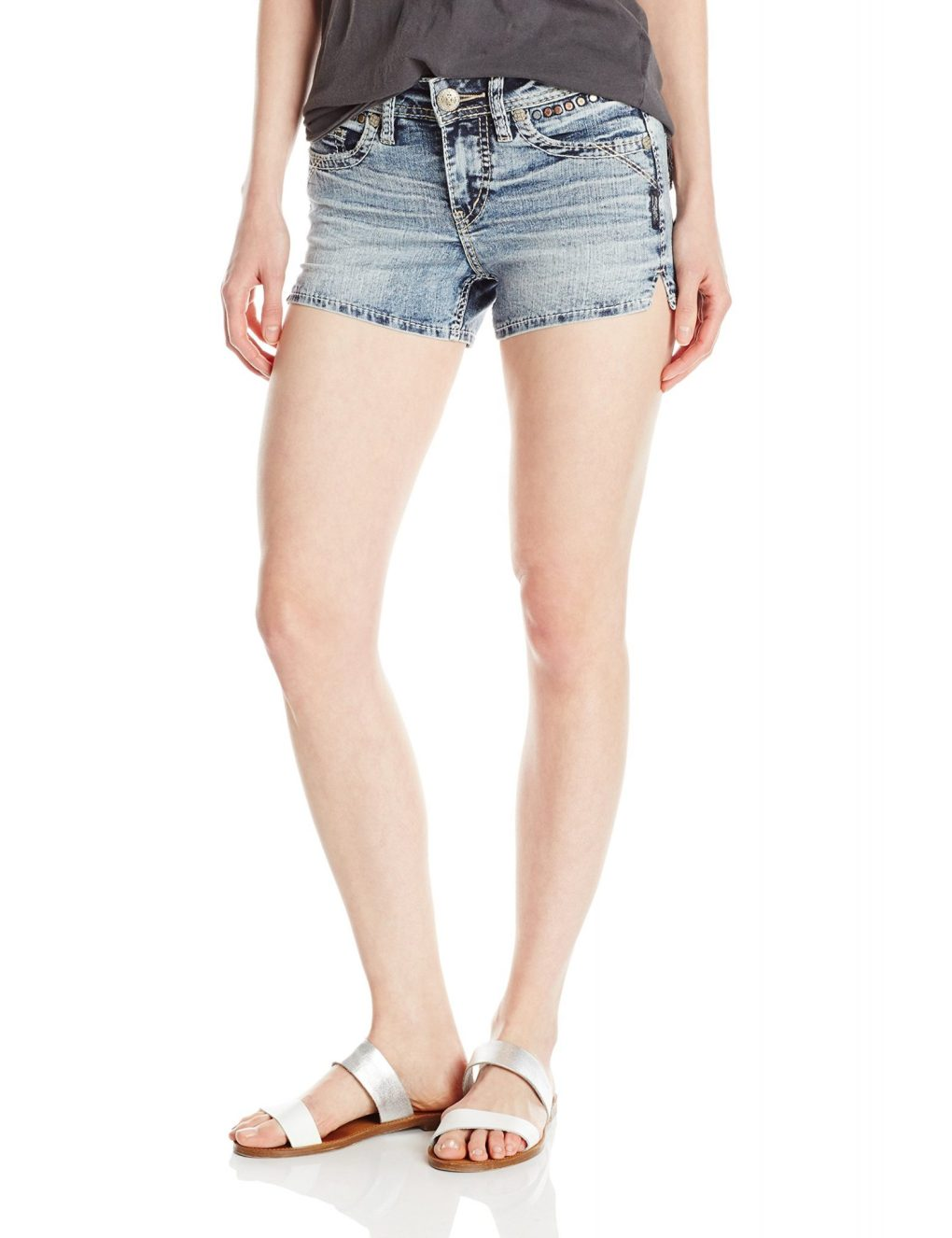 Silver Jeans Women's CO Aiko Fit Mid Rise Short, Gray Wash