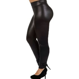Plus Size Faux Leather Leggings Lightweight High Waisted for Womens Girls