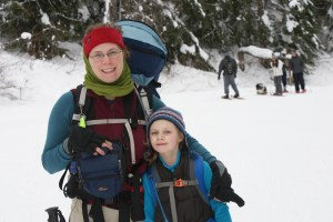 snowshoeing with children, winter hikes, Gold Creek Pond