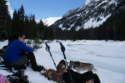heli's pond, gold creek, snowshoeing, winter hike