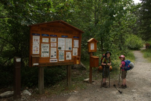 backpacking with kids, children on the trail,