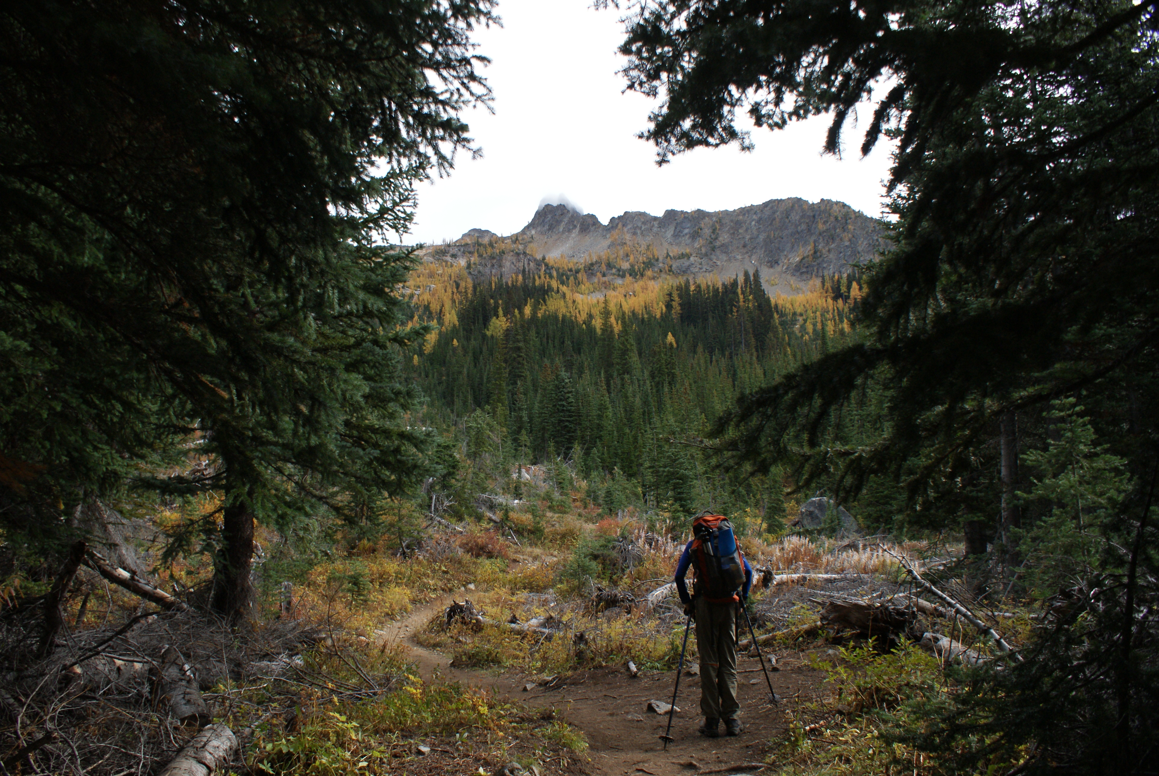 north cascades, blue lake trail, hiking with children, larch hike, fall colors