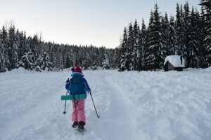 gold creek snowshoe, winter hikes with children