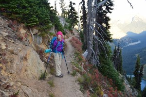 fall hiking, north cascades, heather maple pass trail, rainy lake, kids in nature