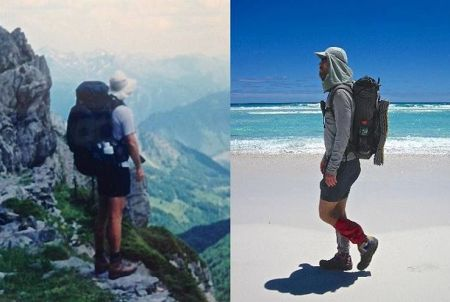 """""""Backpacking's Big Three - A two decade evolution""""..........or............ """"How I saw the light and in the process saved my back and knees."""" (L to R) Pyrenees High Route, 1999 / Cape to Cape, 2010. See the latest post on thehikinglife.com for all the """"Big Three"""" details. #backpacking #hiking #thebigthree @gossamergear @tarptent #mountainlaureldesigns #katabaticgear #thehikinglife #goinglighter"""