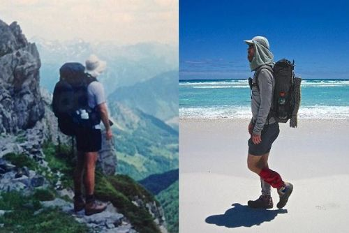 """Backpacking's Big Three - A two decade evolution""..........or............ ""How I saw the light and in the process saved my back and knees."" (L to R) Pyrenees High Route, 1999 / Cape to Cape, 2010. See the latest post on thehikinglife.com for all the ""Big Three"" details. #backpacking #hiking #thebigthree @gossamergear @tarptent #mountainlaureldesigns #katabaticgear #thehikinglife #goinglighter"