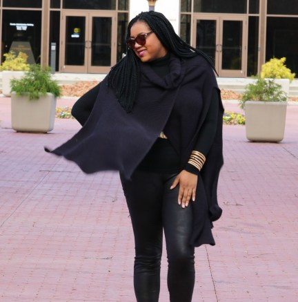 Black sweater cape