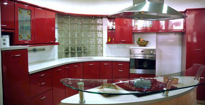 modular kitchen bella seeking kitchens the hindu an island with flashy red colour theme