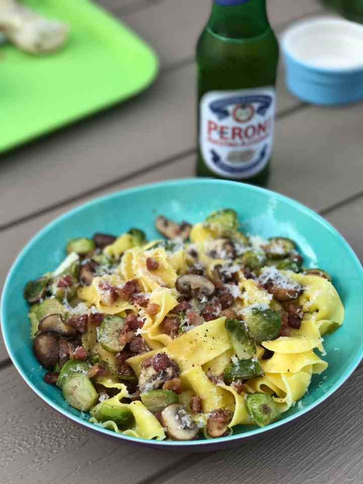 Pappardelle with Pancetta, Mushrooms and Roasted Brussels ...