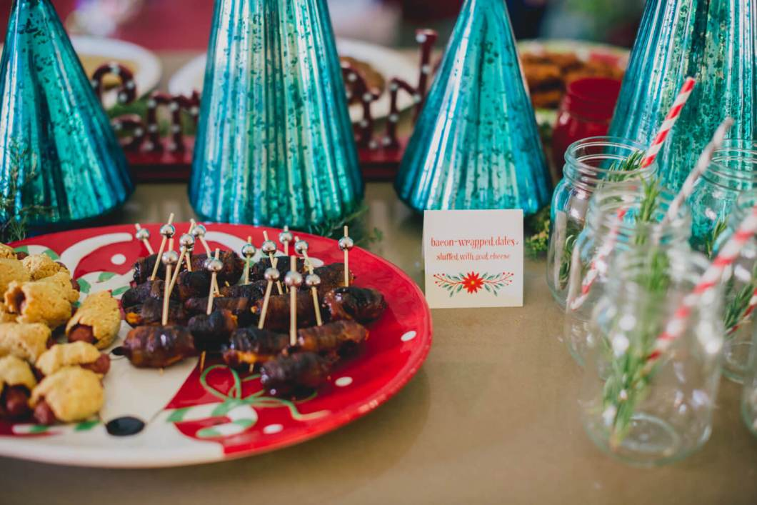 Bacon-Wrapped Dates with Goat Cheese // Christmas Party // www.thehisfor.com
