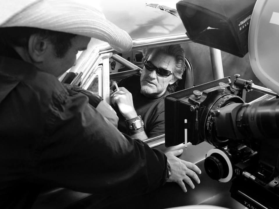 Quentin Tarantino directing Kurt Russell on