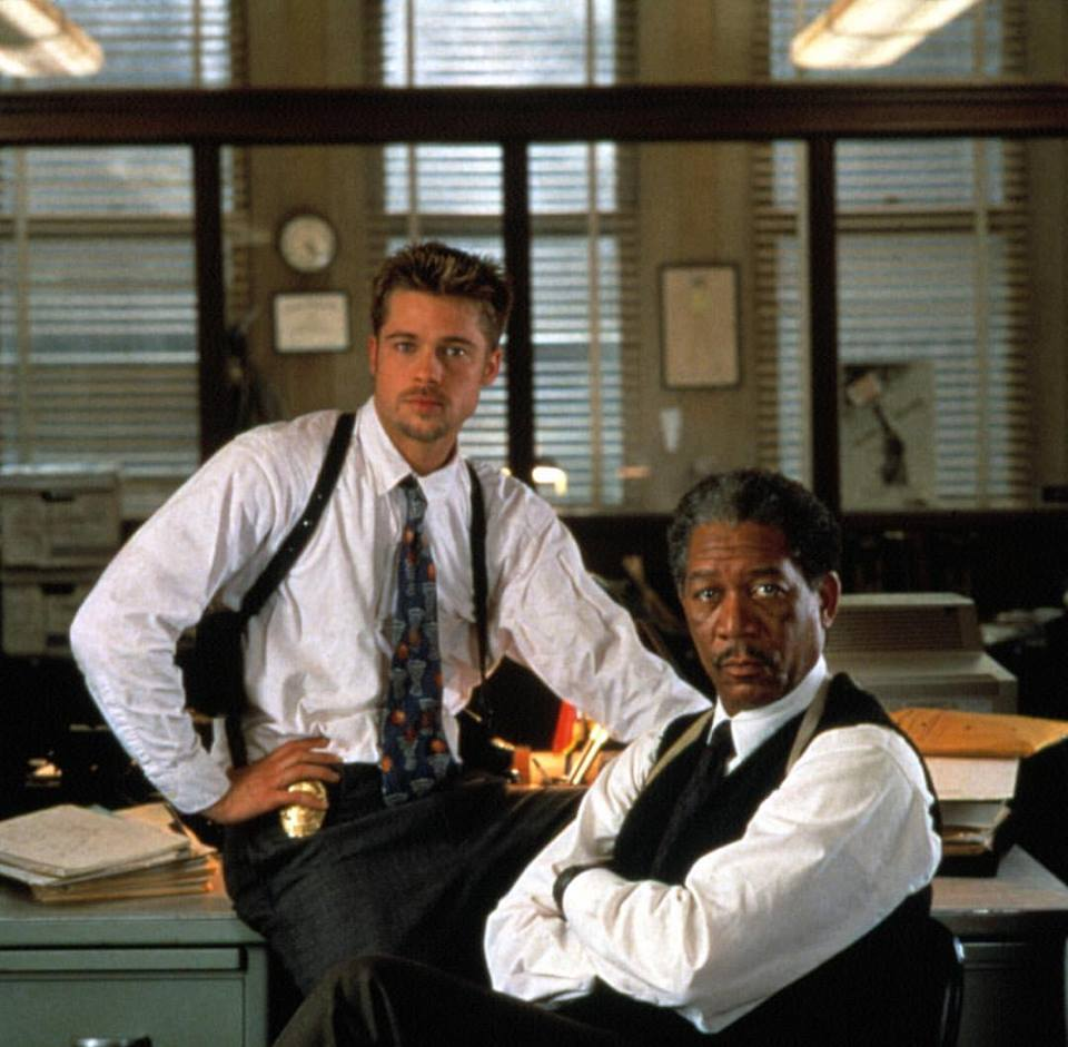 Brad Pitt and Morgan Freeman behind the scenes of 'Se7en' (1995)